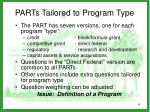 parts tailored to program type