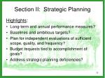 section ii strategic planning