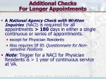 additional checks for longer appointments