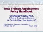 new trainee appointment policy handbook