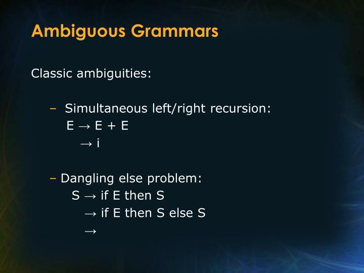 Ambiguous Grammars