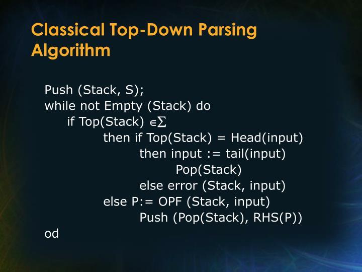 Classical Top-Down Parsing Algorithm