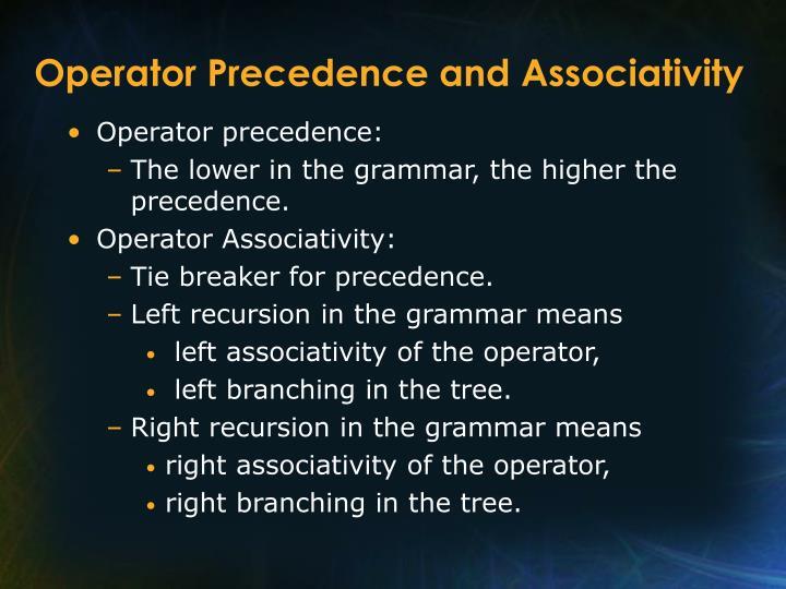 Operator Precedence and Associativity