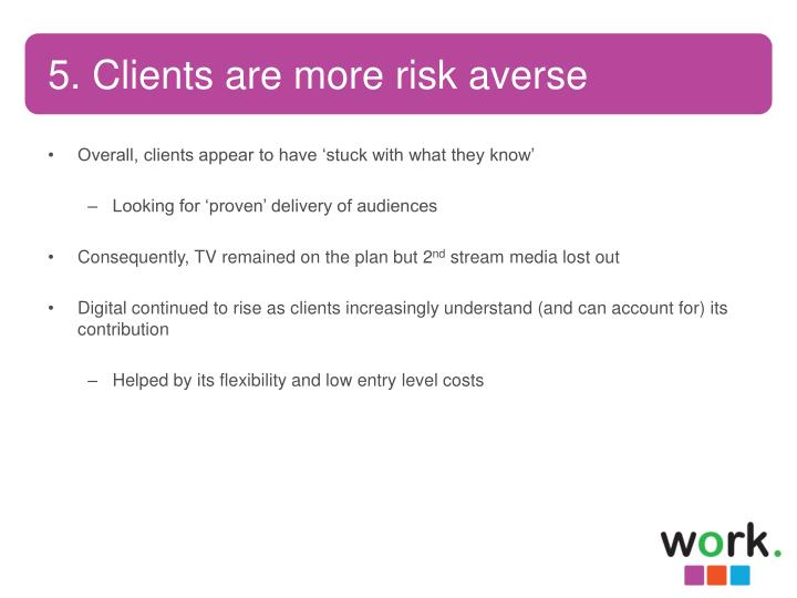 5. Clients are more risk averse