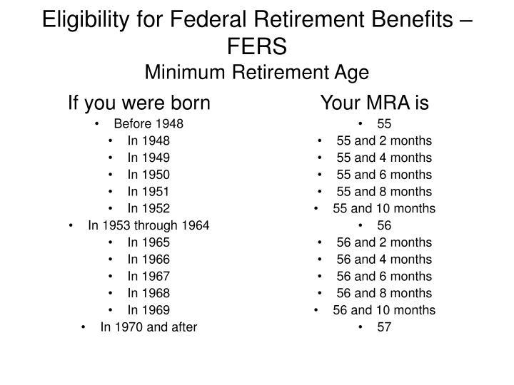 Eligibility for federal retirement benefits fers minimum retirement age