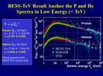 bess tev result anchor the p and he spectra in low energy tev