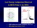 low energy antiproton observed in bess polar i in 2004