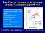 low energy cosmic ray antiprotons in last solar minimum 1995 97