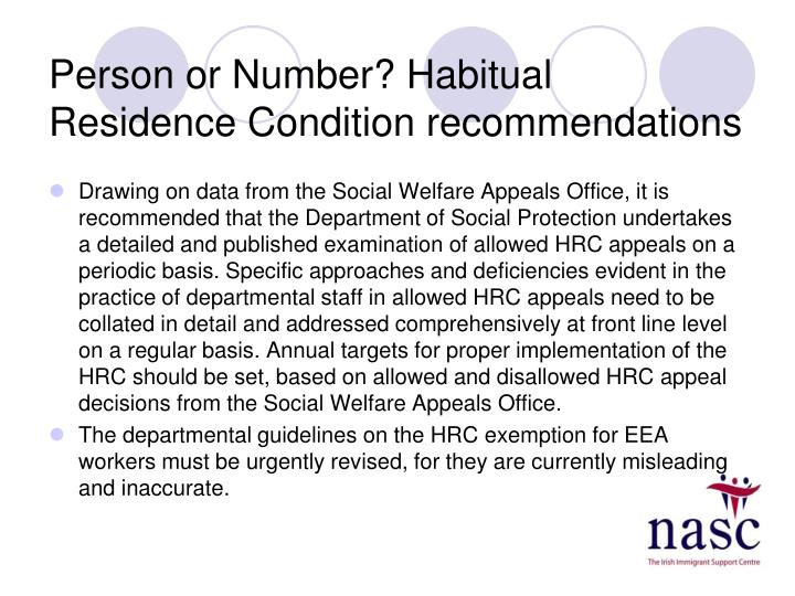 Person or Number? Habitual Residence Condition recommendations