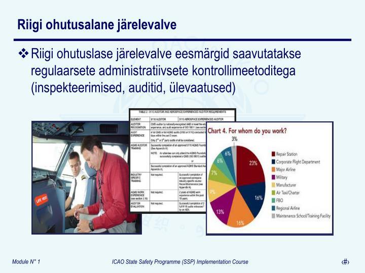 Riigi ohutuslase järelevalve eesmärgid saavutatakse regulaarsete administratiivsete kontrollimeetoditega (inspekteerimised, auditid, ülevaatused)