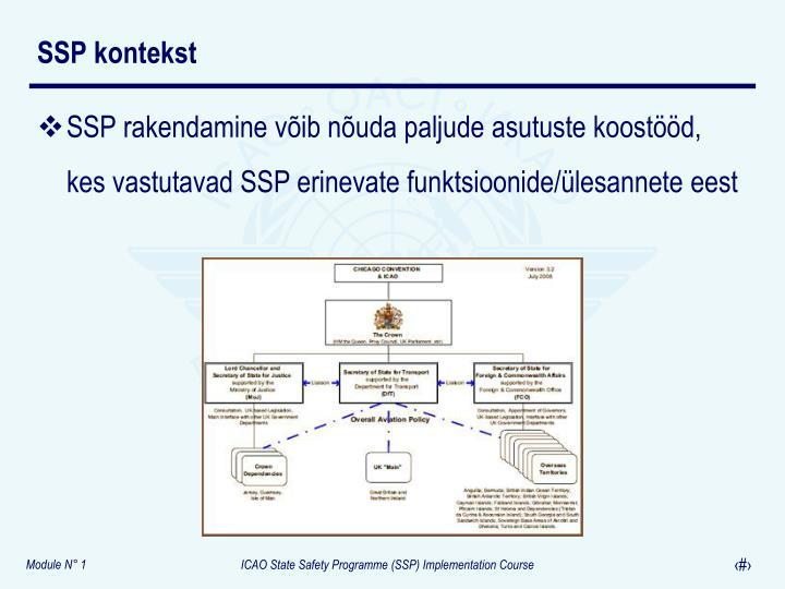 SSP rakendamine võib nõuda paljude asutuste koostööd, kes vastutavad SSP erinevate funktsioonide/ülesannete eest