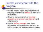 parents experience with the program