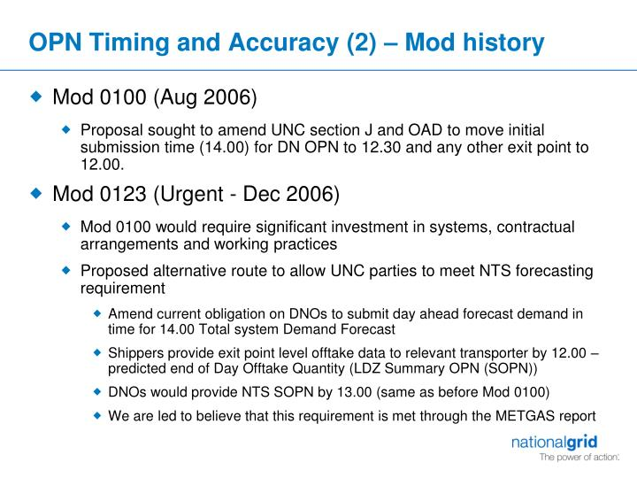 OPN Timing and Accuracy (2) – Mod history