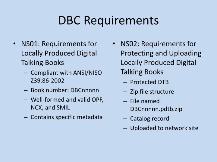 DBC Requirements