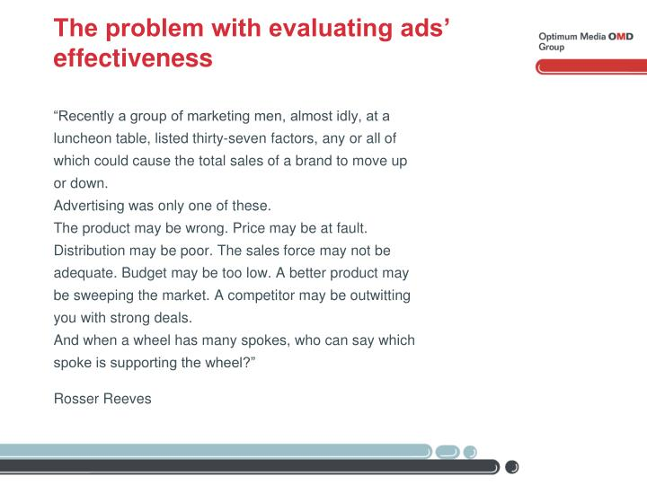 The problem with evaluating ads' effectiveness