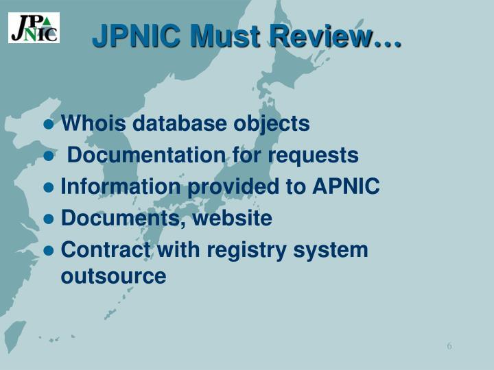 JPNIC Must Review