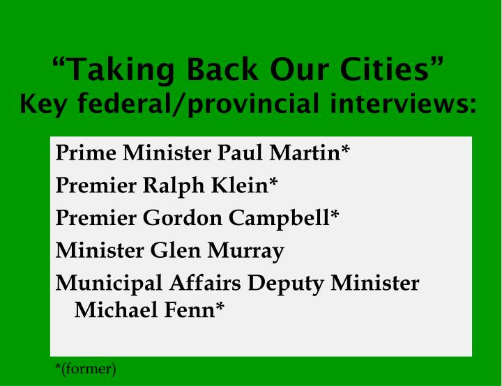 """Taking Back Our Cities"""