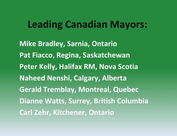 Leading Canadian Mayors: