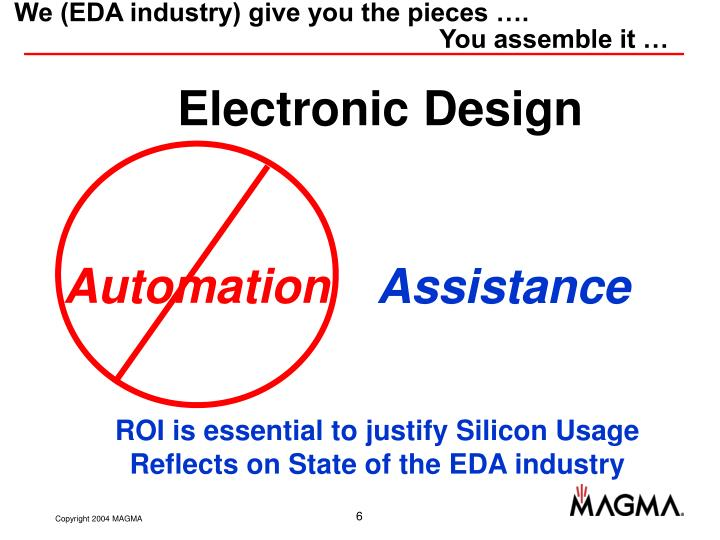 We (EDA industry) give you the pieces ….