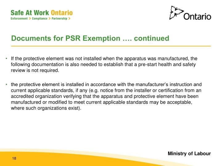 Documents for PSR Exemption …. continued