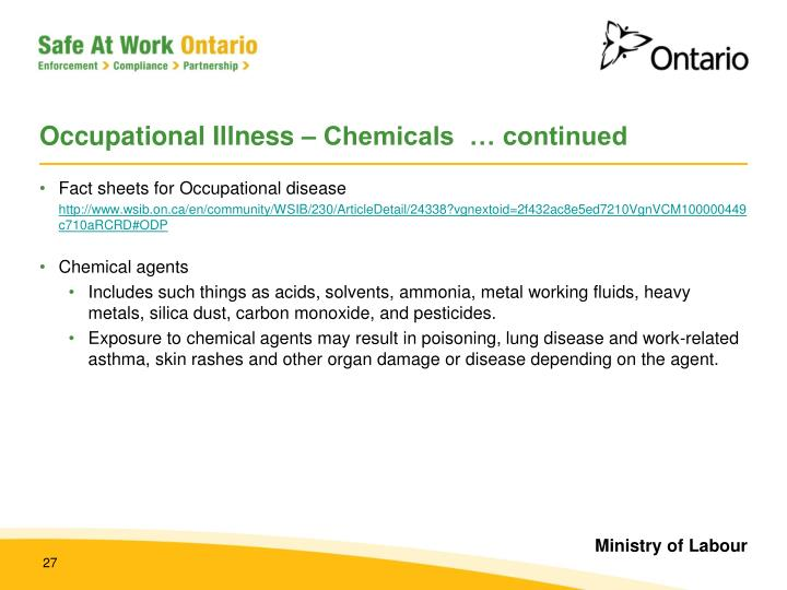Occupational Illness – Chemicals  … continued