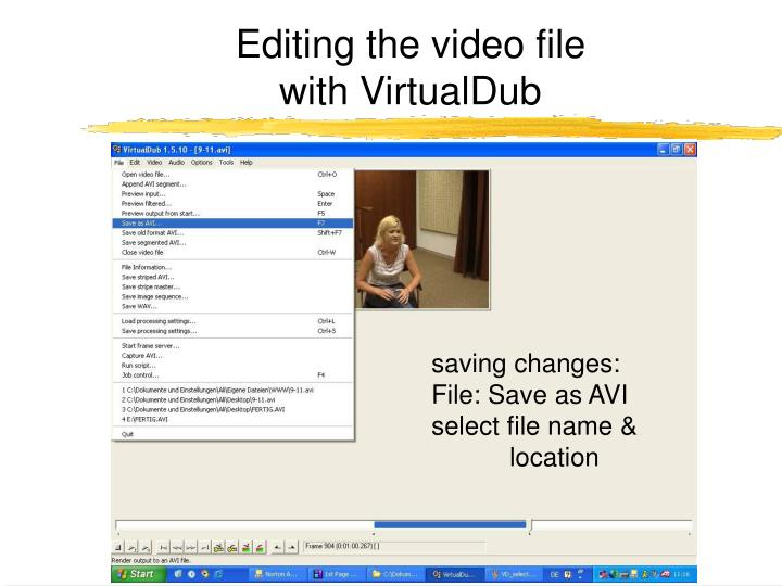 Editing the video file
