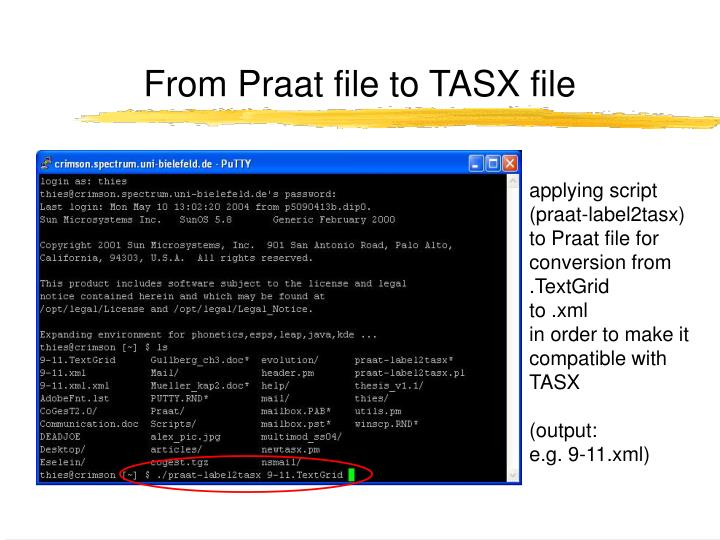 From Praat file to TASX file