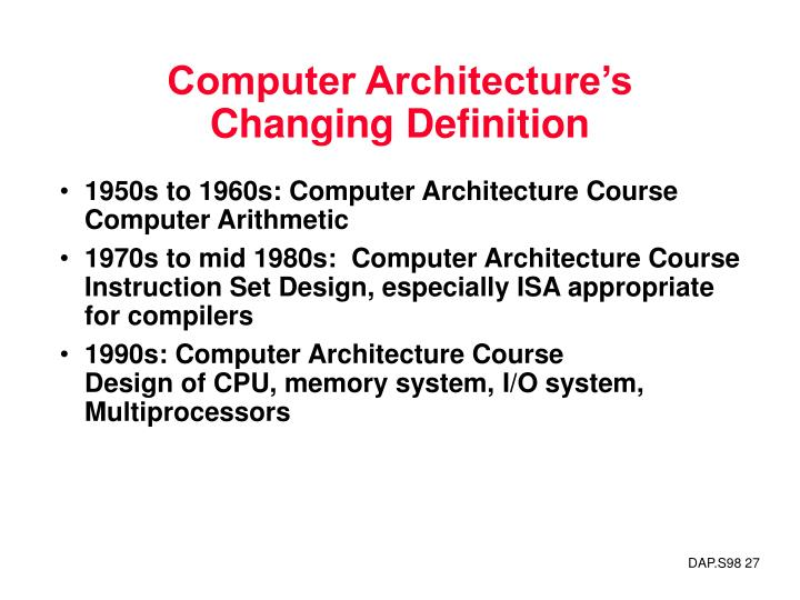 Computer Architecture's Changing Definition