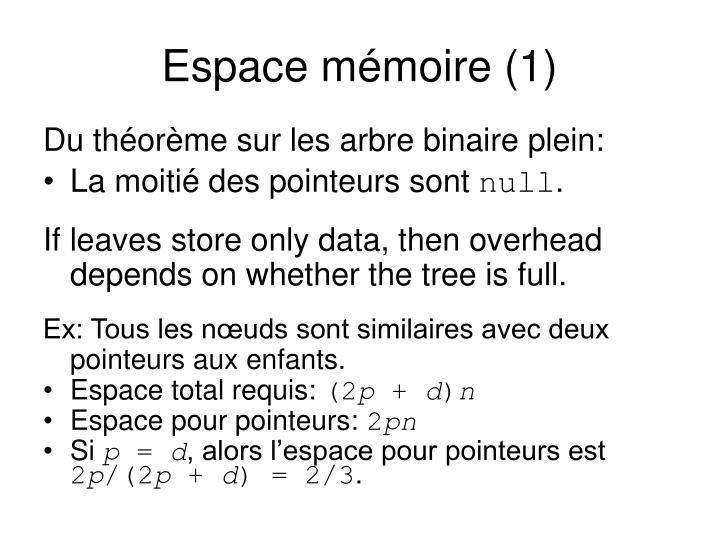 Espace mémoire (1)