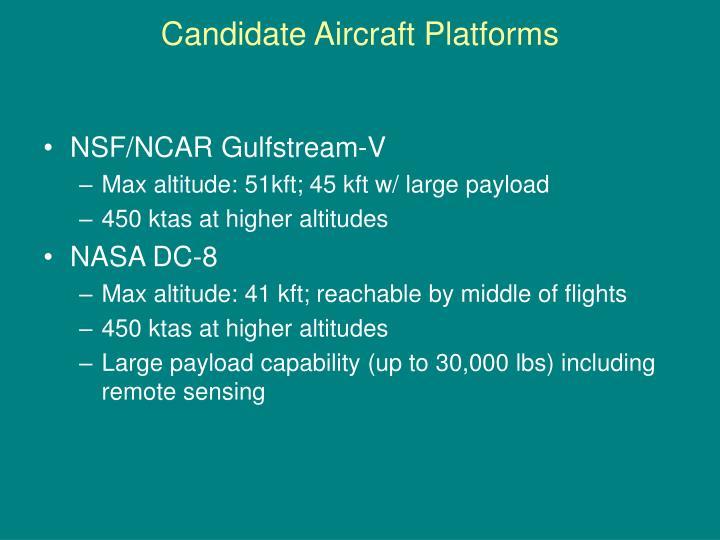 Candidate Aircraft Platforms