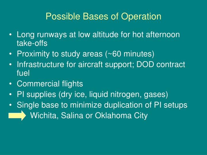 Possible Bases of Operation
