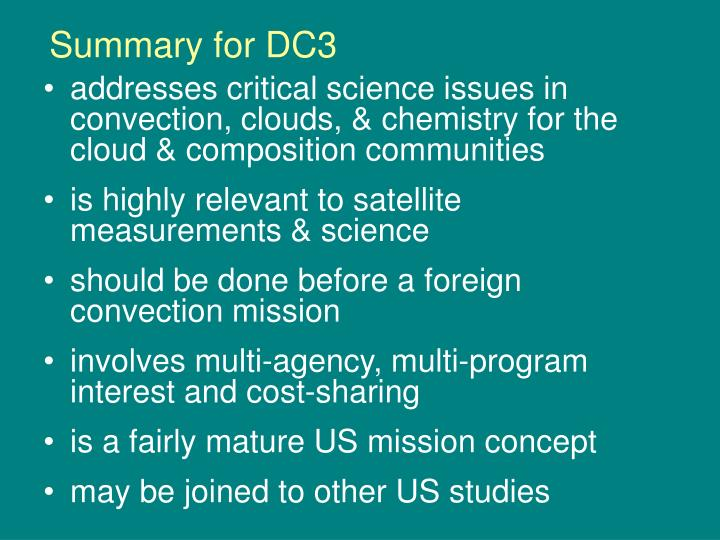 Summary for DC3