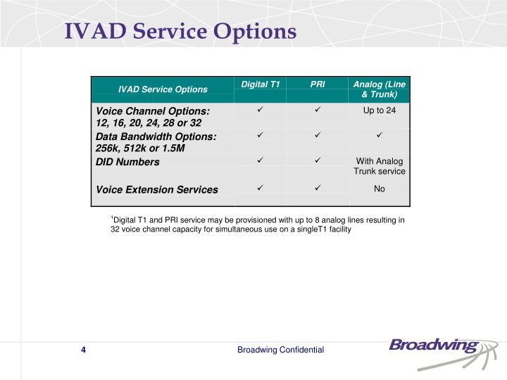 IVAD Service Options