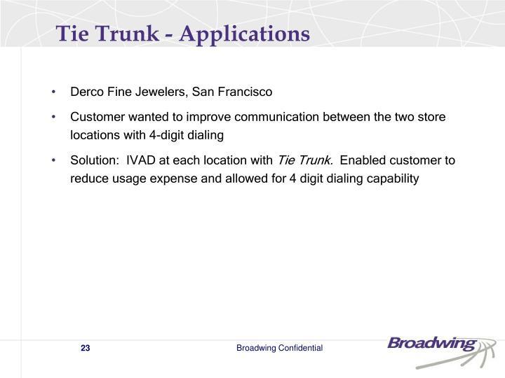 Tie Trunk - Applications