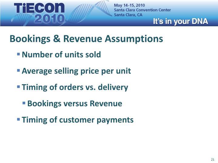 Bookings & Revenue Assumptions