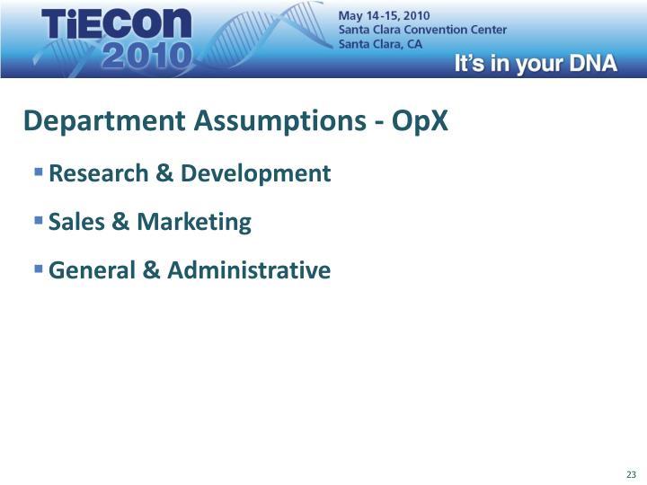 Department Assumptions - OpX
