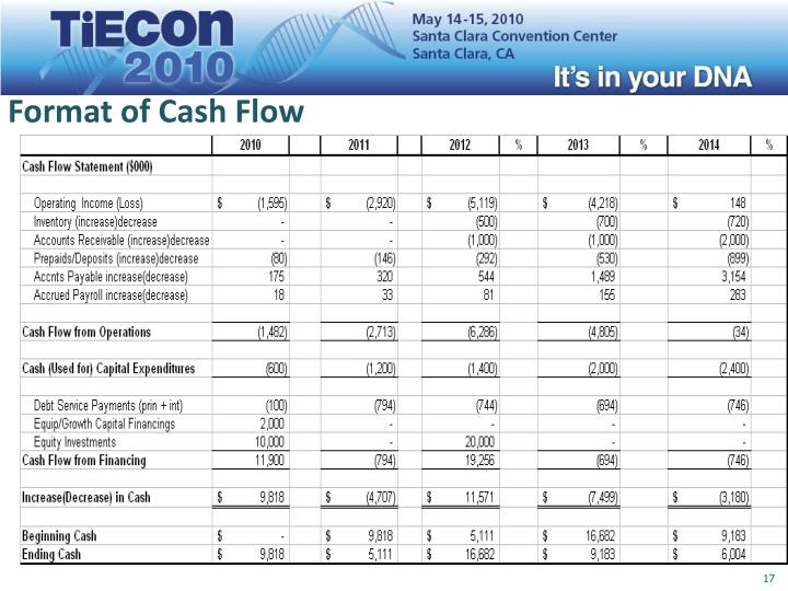 Format of Cash Flow