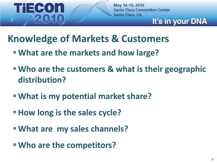 Knowledge of Markets & Customers