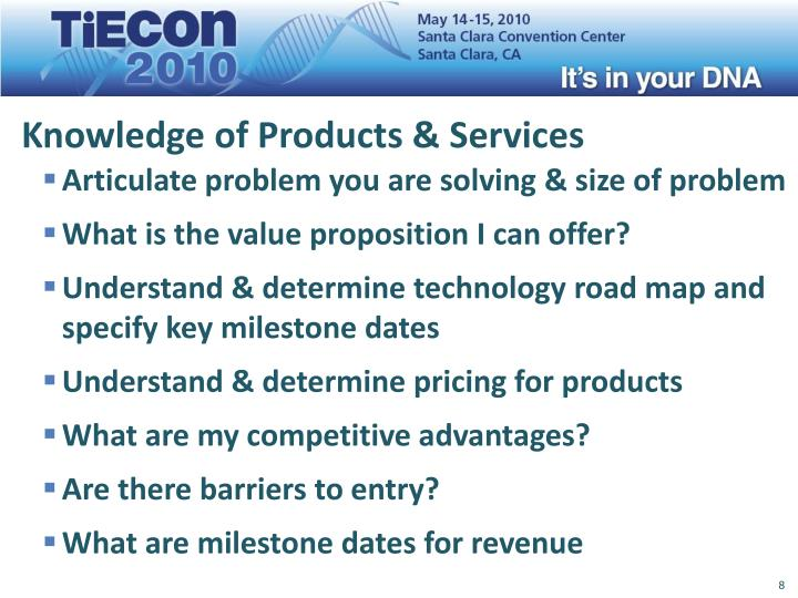Knowledge of Products & Services