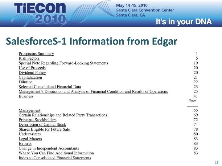 SalesforceS-1 Information from Edgar