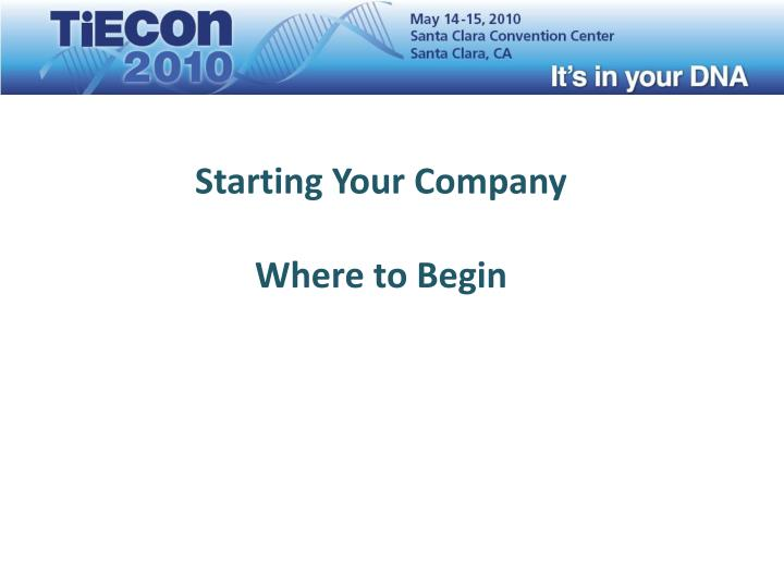 Starting Your Company