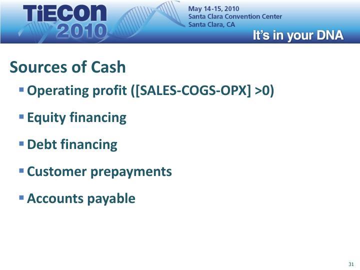 Sources of Cash