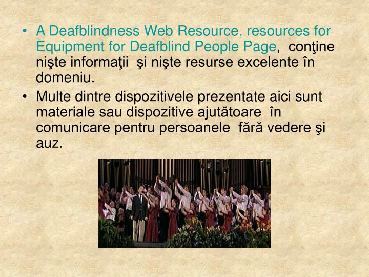 A Deafblindness Web Resource, resources for Equipment for Deafblind People Page