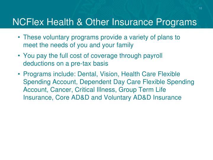 NCFlex Health & Other Insurance Programs