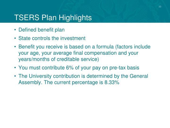 TSERS Plan Highlights