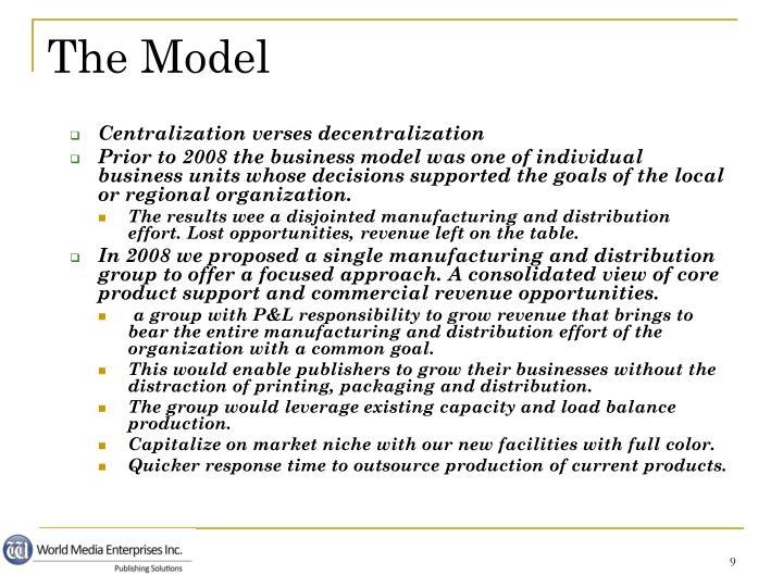 Centralization verses decentralization