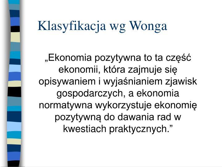 Klasyfikacja wg wonga
