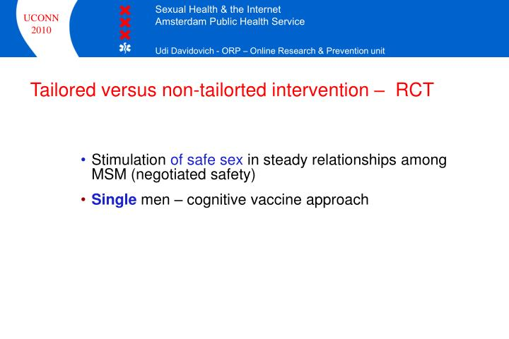 Tailored versus non-tailorted intervention –  RCT