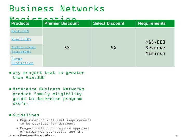 Business Networks Registration