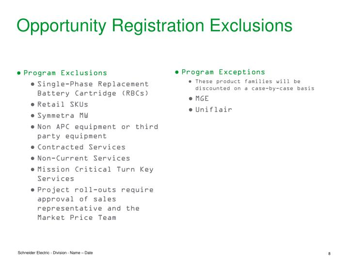 Opportunity Registration Exclusions